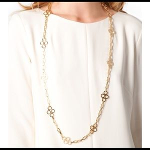 """Tory Burch Gold Clover Necklace Extra Long 42"""""""